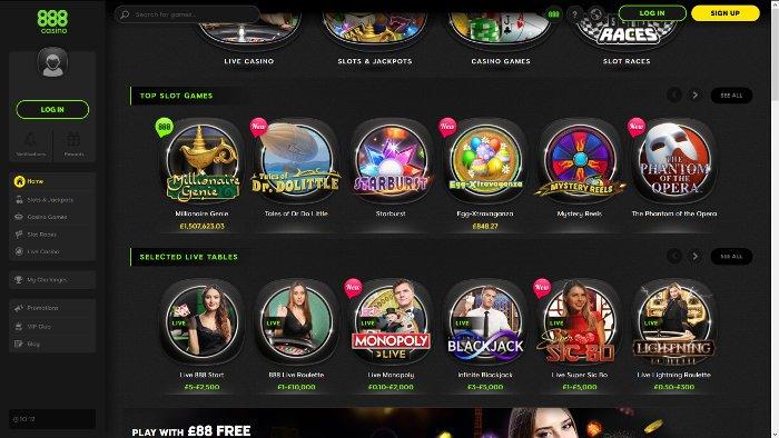 888 Casino Homepage