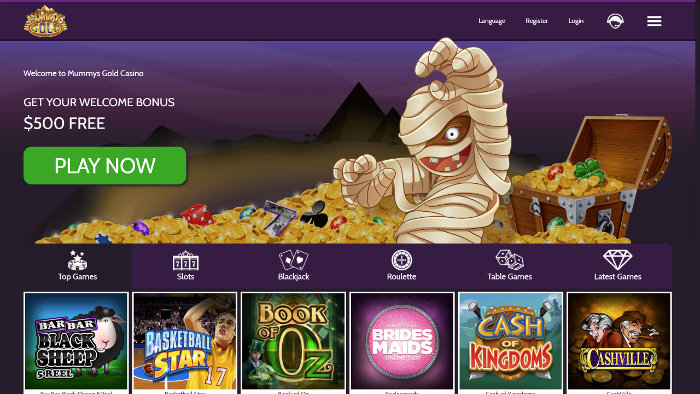 Mummys Gold Casino Homepage