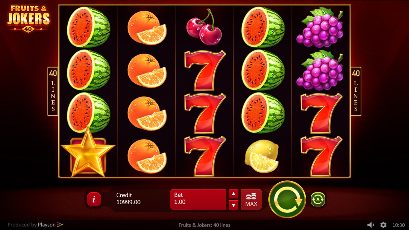 Fruits and Jokers 40 Lines Slot Game