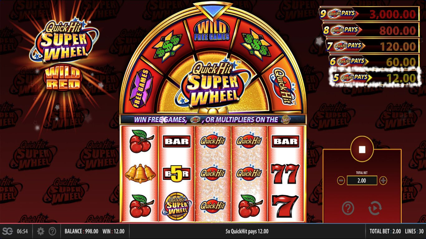 Quick Hit Super Wheel Wild Red Slot Game