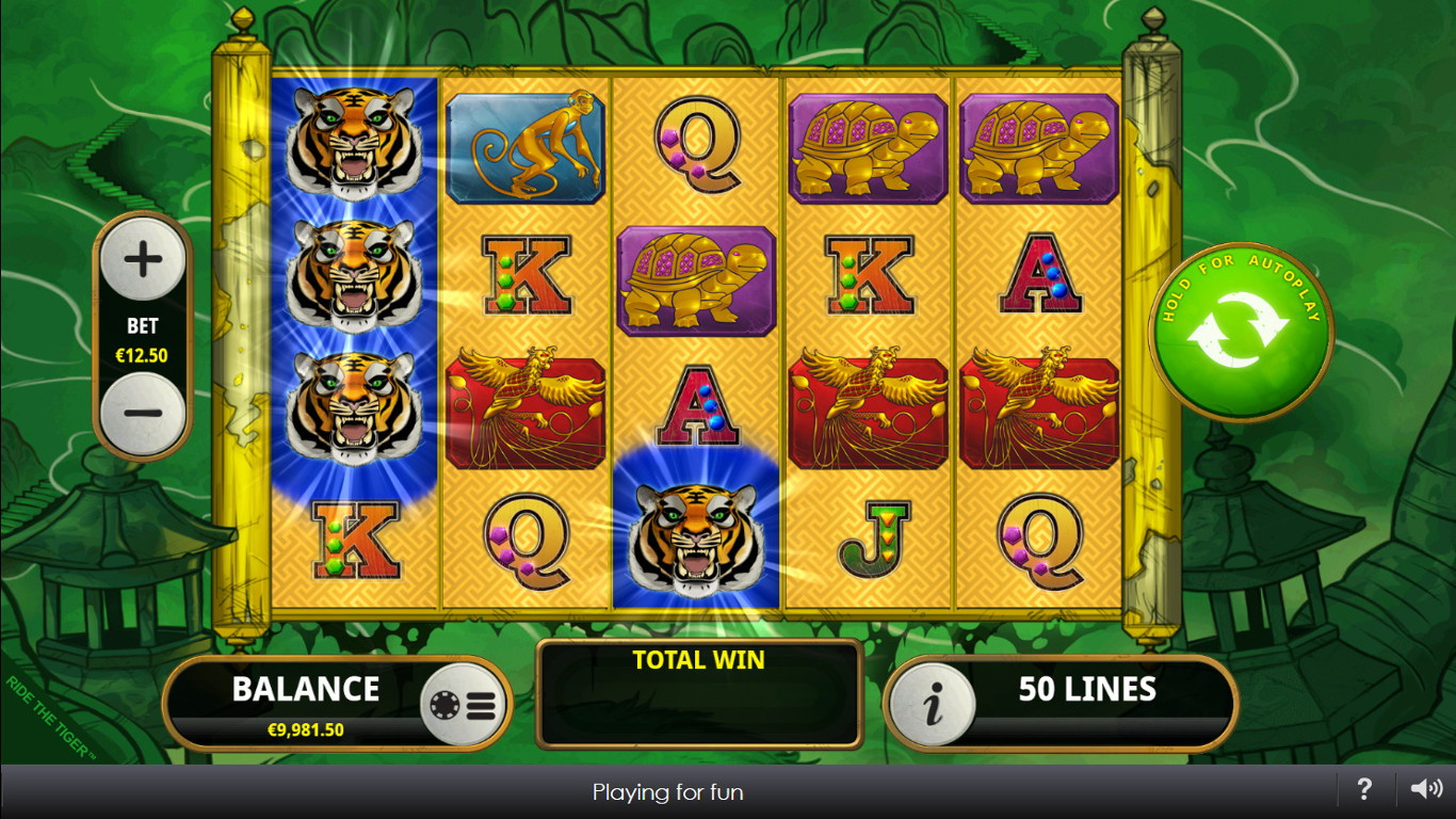 Play Free Spins on Ride the Tiger Online Slots games.When you set the Free Spins feature going on your Ride the Tiger slot – you need to land a minimum of two red gems to trigger this feature – you can win as many as 15 free spins in one round.And free spins can be retriggered for further fun.